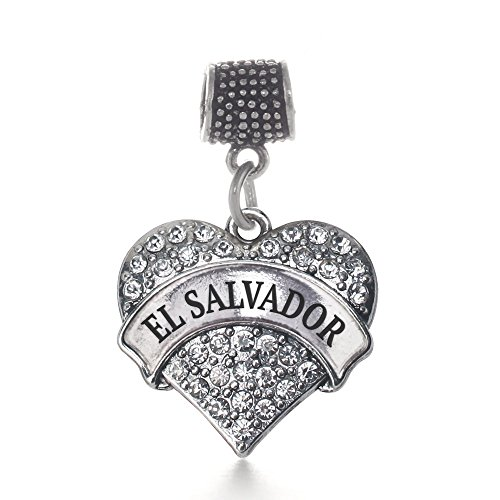 Inspired Silver - El Salvador Memory Charm for Women - Silver Pave Heart Charm for Bracelet with Cubic Zirconia Jewelry