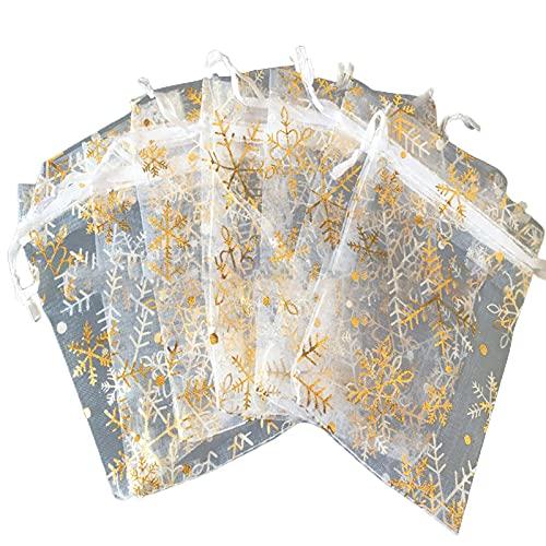 Cuteam 100Pcs Gift Bags Snowflake Pattern Reusable Organza Drawstring Candy Bag Party Supplies - White Golden 811cm