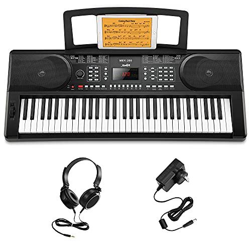 Moukey 61 Teclas de Teclado Piano Para Principiantes, Teclado de Piano Digital con Soporte de Piano Eléctrico, Pantalla LED, 300 Ritmos,...