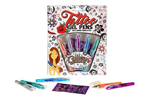 Toi-Toys–Tattoo Gel 5pièces-sur Karte Stifte, 45622A, Mehrfarbig
