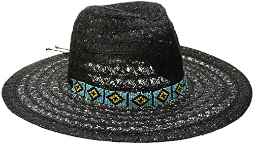 'ale by alessandra Women's Carico Lace Weave Toyo Hat With Beaded Band, Black, One Size