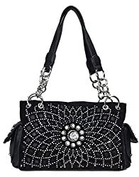 Black Starburst Concealed With Rhinestone Handbag