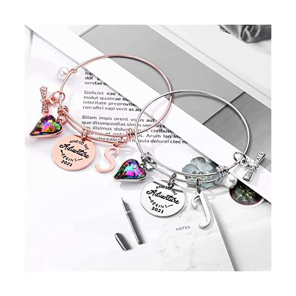 Graduation Gifts for Her, Class of 2021 Inspirational Crystal Heart Charm Initial Graduation Bracelets, Seniors High School College Graduation Gifts Jewelry for Daughter Best Friend Women Girls