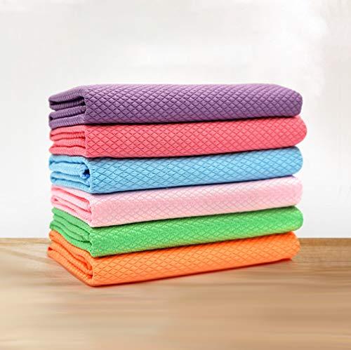 6 paños de limpieza de microfibra para pulir, limpiar sin agua, superabsorbente sin dejar marcas, 30 x 40 cm, color al azar (colores brillantes)