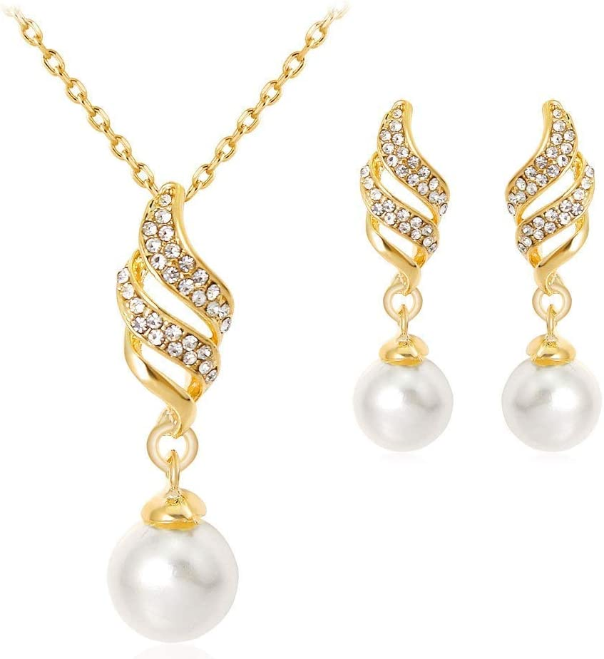 Urns Ashes Funeral Women's Jewelry Set Women's Wedding Bridal Crystal Simulated Pearl Spiral Filigree Pendant Neckle Hoop Earrings Set Neckle Earrings Set Wedding (Color : Gold, Size : Free size),Size