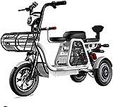 Fangfang Bicicletas Eléctricas, De Tres plazas eléctrico Triciclo, 48V500W Motor, batería de Larga duración y Pantalla de Alta definición LEC, Faros LED/Choque múltiple Sistema de absorción,Bicicleta