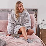 Sienna Wearable Sherpa Hoodie Blanket with Ultra Soft Fleece Lining Warm Cozy Oversized Sweatshirt Throw for Adults, One Size Fits All - Silver Grey