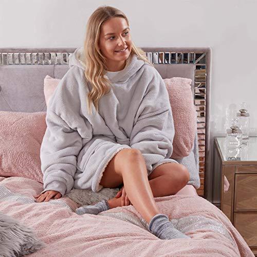 Sienna Unisex SBSHHODSI36 Hoodie Decke Ultra Soft Sherpa Fleece Warm Gemütlich Bequem Übergroß Wearable Hooded Sweatshirt für Erwachsene Teens Kids Big Pocket - Silbergrau, Silver Grey, Einheitsgröße