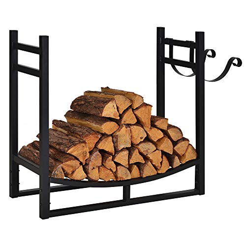 Affordable Firewood Rack Indoor Outdoor, 3ft Log Rack Fire Wood Holders Storage Carrier by Patio Gua...