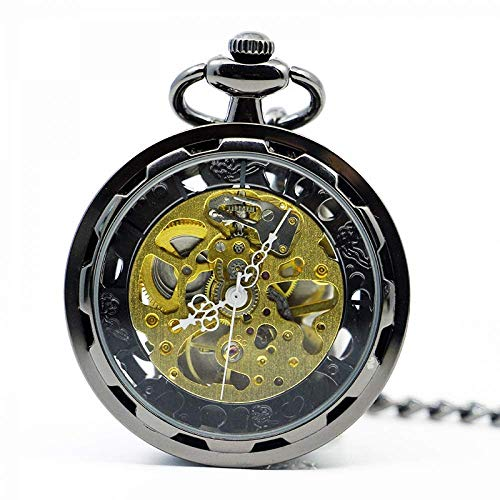 XIAOJIAN Exquisito Reloj de Bolsillo: Reloj de Bolsillo, supernatual Vintage Rosa Cadena de Cobre Hueco Collar de Sol Auto bobinado Auto mecánico pendantComodity Código: LXJ - 287 (Color : Black)