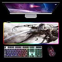 ニーア オートマタRGBゲーミングマウスパッド大型XXLLEDイルミネーションデスクマットコンピューター用ステッチエッジ付き900x300x4mm A
