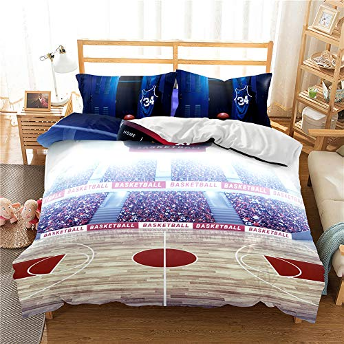 ADGAI 3D Basketball Bedding Duvet Cover Set Sports Starry Basketball Teenagers Comforter Set, Soft Microfiber Sport Quilt Cover Single Double Size,BB8,SINGLE