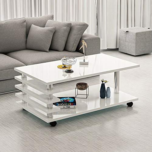 Couchtisch Melanie Weiß Hochglanz mit Rollen 115 x 65 cm Tisch Wohnzimmertisch Sofatisch