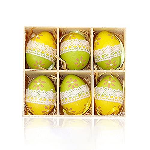 Uovo di Pasqua gradiente colore simulazione uovo ciondolo pizzo plastica decorazione uovo appeso ornamenti sacchetto regalo riempitivo