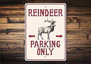 1pcs Reindeer Parking Sign, Reindeer Decor, Reindeer Sign, Reindeer Lover Gift, Holiday Decor, Holiday Sign, Deer Decor, Quality Metal Decoration (10 x 14 Inches)