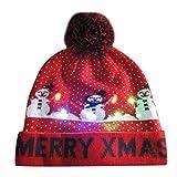 Gorro de Punto con luz LED para Navidad, Colorido, Luces Intermitentes, Sombrero de Punto de Regalo de Fiesta para Adultos y Niños Yvelands C