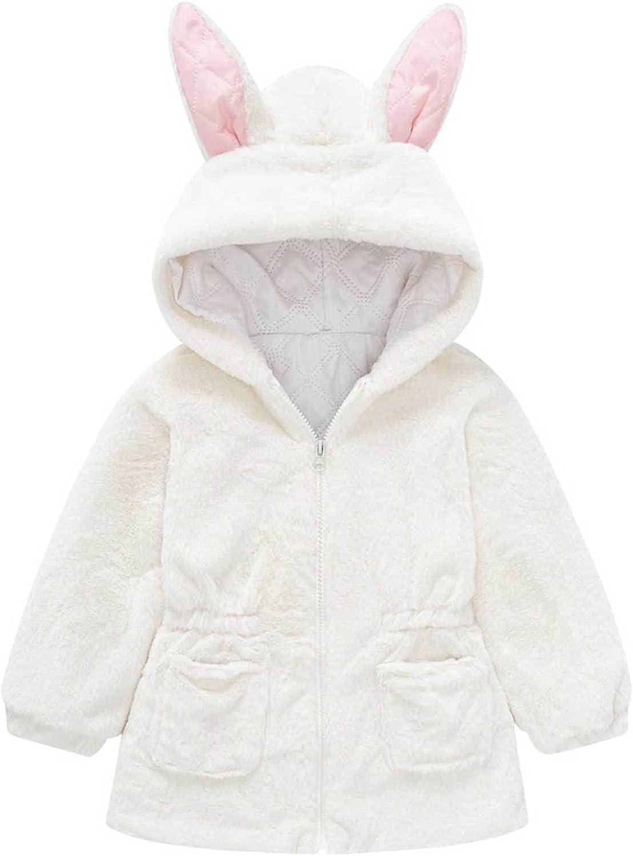 JanJean Kids Girls Winter Warm Coats Rabbit Ears Long Sleeves Fur Faux Fleece Jacket with Hood Thicken Outwear Overcoat