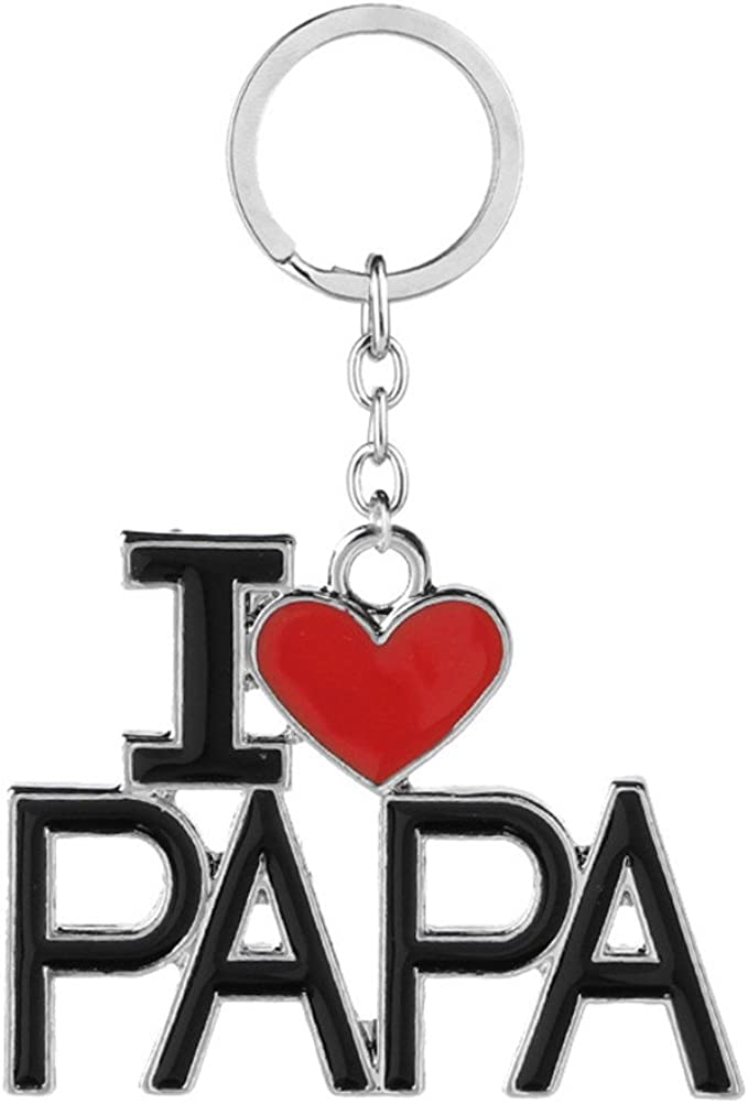 Gift for Grandpa Grandfather I LOVE PAPA Keychains Key Ring Jewelry for Father's day Birthday from Granddaughter Grandson