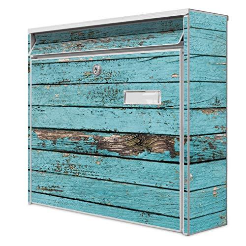 Burg Wächter Design Briefkasten | Postkasten 36 x 32 x 10cm groß | Stahl weiß verzinkt mit Namensschild | großer A4 Einwurf, 2 Schlüssel | Motiv Blaue Holzlatten
