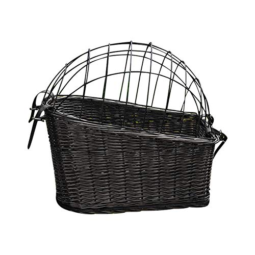 Stylishbuy Dog Bike Basket Rear Mount Willow Bicycle Basket for Cats Dogs Up to 25lbs Detachable Carrier Best for Small Pets
