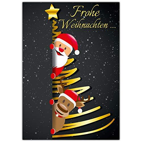 A4 XXL Weihnachtskarte SANTA & RENTIER mit Umschlag - edle Klappkarte für liebe Kollegen Freunde Verwandte - Frohe Weihnachten Karte von BREITENWERK