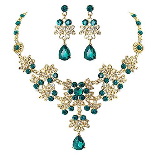 YUANBOO Barroco Vintage Oro Rojo Verde Azul Crystal Bridal Jewelry Sets Pendientes Collar Pendientes Tiara Set Body African Beads Joyas Conjuntos (Metal Color : 2Pcs Green Set)