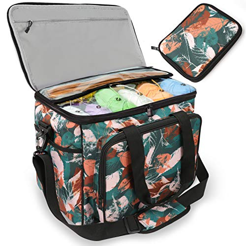 Knitting Bag, Yarn Tote Storage Organizer with Separate Crochet Hooks & Knitting Needles Bag,Slits on Top to Protect Wool and Prevent Tangling. (Large with Cover, Green)