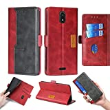 Oujietong Case for BLU View MEGA B110DL 6' Case Silicone TPU + Flip Cover Stand Shell Red