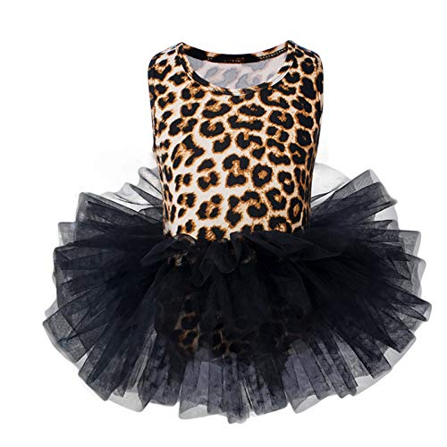 Vestido de Danza Ballet para Niña Maillot de Gimnasia Rítmica con Falda Sin Mangas Tul Leotardo Elástico de Baile Disfraz de Bailarina Verano Traje de Ballet, 7-8 Años