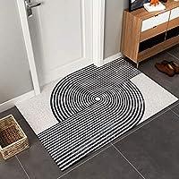 黒と白の幾何学的な玄関ドアマット、PVC靴砂収集フロアマット、家族の玄関ホールマットは滑り止めポーチカーペットを切ることができます
