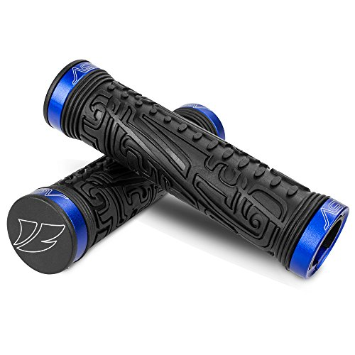 BV Bike Handlebar Grips, Double Lock-on Bicycle Grip Handle Bar End Holding Locking Grips, for MTB, BMX, Mountain, Downhill, Folding Bike (Blue)