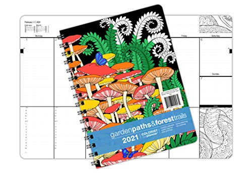 2017 Medium Garden Paths & Forest Trails Coloring Day Planner (7 x 8.5 inches) - Weekly & Monthly Organizer, Appointment Schedule, Goals and Notes