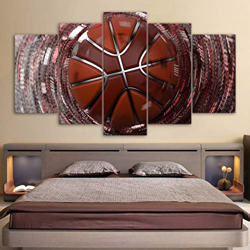 GHTAWXJ Decoración del hogar Lona Sala de Estar Impreso Moderno 5 Panel Velocidad Tiro Baloncesto Imágenes Pintura Arte de la Pared Cartel