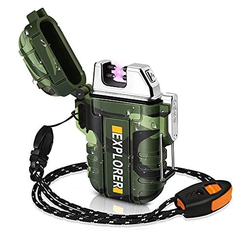lafagiet Encendedor recargable por USB, encendedores de arco impermeables para acampar, senderismo, supervivencia al aire libre y táctica