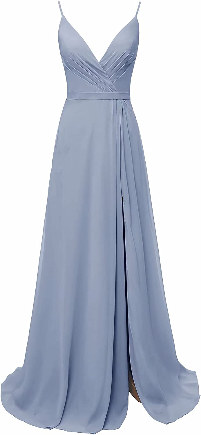 YFANLYNXCI Women's Long Black Bridesmaid Dresses with Pockets V-Neck Chiffon Formal Party Gowns