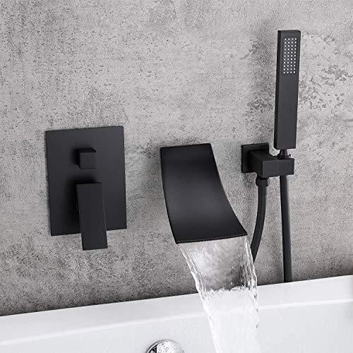 GENFALIN Moderna oculta ducha baño lavabo grifo de la cascada 2 Función Dentro de la pared de la bañera de ducha Conjunto de ducha de mano Sistema Hermosa práctica (Color : Black)
