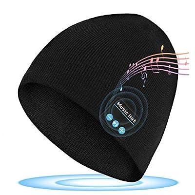 Upgraded Wireless Beanie Hat Wireless Headset Headphones Winter Music Speaker Hat Knit Running Cap with Stereo Speakers & Mic Unique Christmas Tech Gifts for Men Women Teens Boys Girls Stocking Stuff by Ceotsak