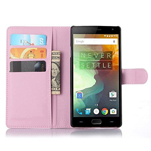 Ycloud Tasche für OnePlus Two Hülle, PU Ledertasche Flip Cover Wallet Hülle Handyhülle mit Stand Function Credit Card Slots Bookstyle Purse Design rosa
