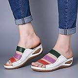 HNZXHYC - Sandalias de verano para mujer, sandalias de sutura, zapatos de punta abierta para señora Slope con plataforma, color lavanda, talla 35)