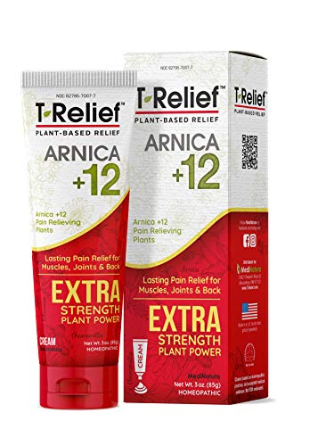 MediNatura T-Relief Extra Strength Cream Arnica +12 Natural Plant-Based Pain Relievers Reduce Aches, Soreness from Injuries in Back, Neck, Joints, Muscles, Hands, Feet - Fast-Acting, Non-Greasy -3oz