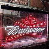 zusme Budweiser King Beer Bar Novelty LED Neon Sign White + Red W16 x H12