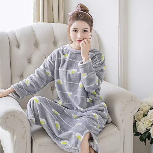 Pyjama Damen Nachthemd Schlafanzug Frauen Warm Flanell Print Nachtwäsche Rundhalsausschnitt Sexy Dessous Süßes Nachthemd Weibliche Unterwäsche Nachthemd Homewear XL 16