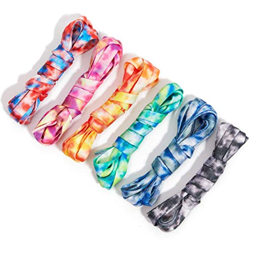 Flat Shoe Laces TieDye Lace Set for Sneakers 6 Designs 47 In 6 Pairs