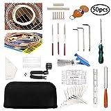 50 Pcs Guitar Tool Repair Setup Kit Maintenance String Winder Accessories Cleaning Care Ruler Action Radius Gauge Measuring Files Luthier...