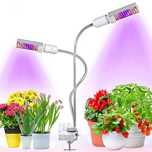 Bozily Lámpara de Plantas 45w 88 LED Plant Light, Lámpara de Cultivo Interior, 2 Cabezales Reemplazable E27 / E26 Bulb, Grow Lamp Espectro Completo, Auto On/Off, perfecto para Siembra en Crecimiento