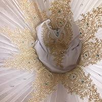 【Reiheikanemochi】バレエレオタード 子ども 女の子 バレエ 演出服 キッズダンス バレエウェア レディース キッズダンス 衣装 ふわふわ バレエ ステージ衣装 バレエ形体服 子ども用 練習用 競技着 新体操 チュチュスカート (ホワイト, XL)