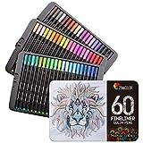 60 Feutres Coloriage Pointe Fine Zenacolor - 60 Couleurs Uniques - Stylo Feutre Coloriage 0.4mm - Idéal pour Mandala adulte, Coloriage Adulte, Coloriage Enfant, Manga