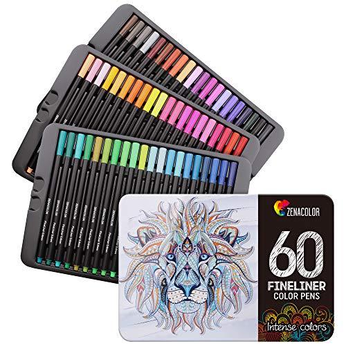60 Zenacolor-Filzstifte - 60 Verschiedene Farben - 0,4 mm Fine Tip Pen - Buntstifte für Erwachsene Set - Perfektes Zubehör, Pinselstifte, Skizzen- oder Zeichenstifte