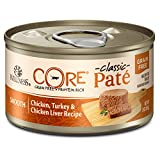 Wellness Natural Pet Food CORE Grain Free Canned Cat Food, Chicken, Turkey & Chicken LiverPate, 3 Ounces (Pack of 12)