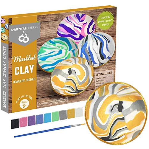 ORIENTAL CHERRY Arts and Crafts for Kids Ages 8-12 - DIY Marbled Clay Jewelry Dishes Kits(Makes 4) - Make Your Own Fun Baking Clay Dish for Teen Girls Ages 10-12 12-14